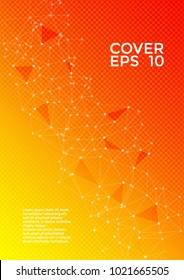 Cover page layout. Global network connection illustration. Interlinked nodes, molecular, social media, web or  big data cloud structure concept. Network nodes information technology concept.