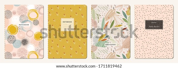 Cover page templates. Universal abstract layouts. Applicable for notebooks, planners, brochures, books, catalogs etc. Seamless patterns and masks used, easy to re-size. Vector.