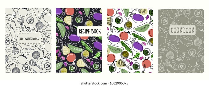 Cover page vector templates for recipe books based on seamless patterns with hand drawn vegetables. Cookery books cover layout. Healthy food, vegan food concept