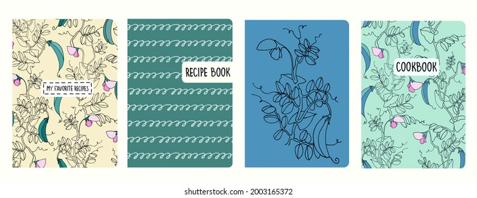 Cover page vector templates for recipe books with pea plant illustrations and spiral lines, cursive imitation. Cookery books cover layout. Based on seamless patterns. Headers isolated and replaceable