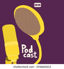 Cover for a podcast show. Studio microphone with pop filter. Yellow illustration on a purple background. Hand drawing illustration for blogging.