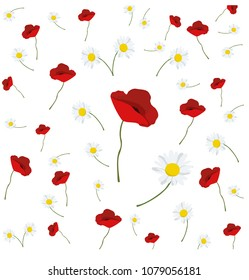 cover with poppies and daisies