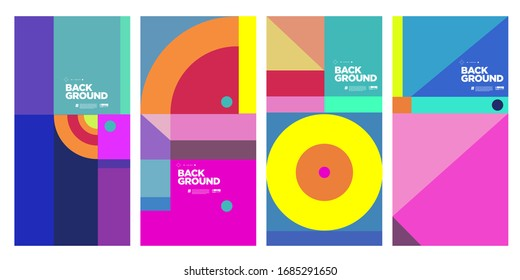 Cover and Poster Design Template for Magazine. Trendy Abstract Colorful Geometric and Curve Vector Illustration Collage with Typography for Cover, book, social media story, and Page Layout Design.