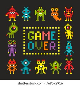 Cover print with pixel art robots and  monsters. Coloful vector card.