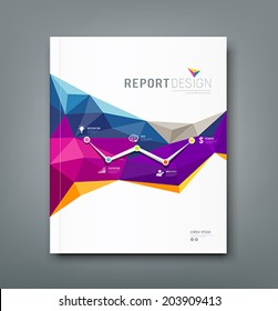 Cover report colorful geometric shapes info-graphic  design background, vector illustration