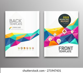 Cover report colorful triangle geometric shapes info-graphic with point markers icons design background, vector illustration