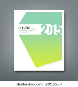 Cover Report number 2015 and eco green abstract design background, vector illustration