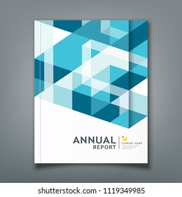Cover report triangle and square geometry abstract on blue background, vector illustration