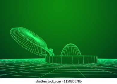 Cover rocket silo intercontinental ballistic missile. Wireframe low poly mesh vector illustration
