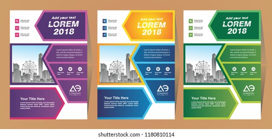 cover set colorful template a4 size. Business brochure design. Annual report cover. Vector illustration.