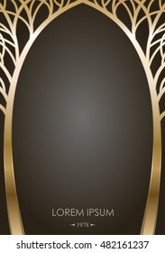 Cover of silhouettes stylized golden trees in the form of an arch with graphic templates for greeting cards, labels. Forged or cast gates in fairy-tale style. Vector graphics