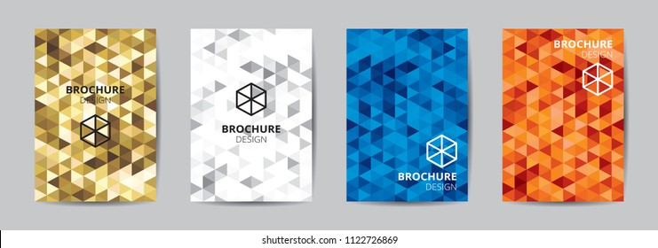 baedb238836178 Cover template A4 size blue red gold low polygon color theme background. Company  logo book