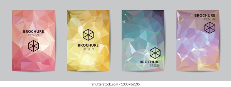 6b0b844022ff9e Cover template A4 size blue red gold low polygon color theme background.  Company report abstract