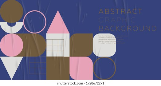 Cover template with bauhaus, memphis and hipster style graphic geometric elements. Applicable for placards, brochures, posters, covers and banners. Vector illustrations.