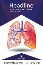 Cover template for books, banner, journal. Sick human realistic lungs and trachea in low poly. Pleurisy, an inflammation around the lungs. Infection, tuberculosis, cancer, pulmonary embolism. Vector.
