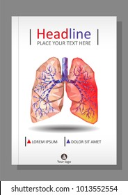 Cover template for books, banner, journal. Sick human realistic lungs and trachea in low poly. Pleurisy, an inflammation around one lung. Infection, tuberculosis, cancer, pulmonary embolism. Vector.