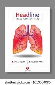 Cover template for books, banner, journal. Sick human realistic lungs and trachea in low poly. Pleurisy, an inflammation around both lungs. Infection, tuberculosis, cancer, pulmonary embolism. Vector.