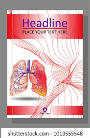 Cover template for books, banner, journal. Sick human realistic lungs and trachea in low poly. Line waves. Inflammation around one lung. Infection, tuberculosis, cancer, pulmonary embolism. Vector.