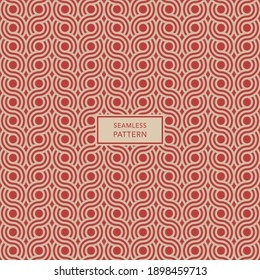 Cover template design with brown geometric pattern on red background. Seamless background.