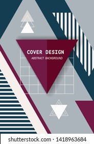 Cover template design with geometric memphis modern style. Abstract background art for using A4, A1, wallpaper, banner, poster and other users in background.