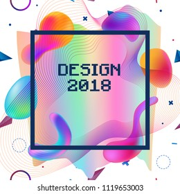 Cover template with liquid holographic shapes, memphis and hipster style graphic geometric, anaglyph 3d elements. Applicable for placards, brochures, posters, covers and banners. Vector illustrations.