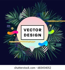 Cover template with palm leaves, golden glitter, trendy hipster and memphis elements and patterns. 80s style retro design for posters, placards, brochures and presentations. Vector illustrations