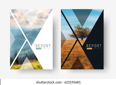 Cover template for a report in a minimalistic style with triangular design elements for a photo. set of modern flyers for business or trips with photos of mountains and landscapes. mosaic for a sample