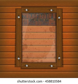 Cover Template restaurant menu background wooden frame and glass plate with food and drink.