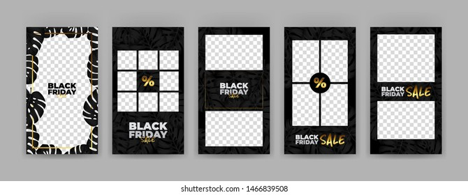 Cover template set - black friday sale with black leaves monstera deliciosa and gold additions.
