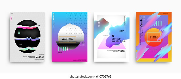 Cover templates with abstract liquid bubbles shapes, 80s memphis geometric style flat and 3d design elements. Retro art for banners, flyers, placards and posters. Esp10 vector illustration.