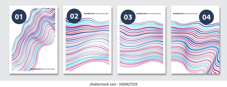Cover templates set, vector geometric abstract background. Flyer, presentation, brochure, banner, poster design. Memphis, modern bauhaus style.