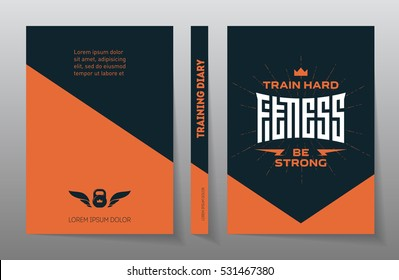 Cover of the training diary. A4 Brochure design template, vector. Flyers report. Magazine poster with motivational slogans. Fitness - original lettering