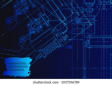 Cover. Vector engineering drawing. Mechanical instrument making