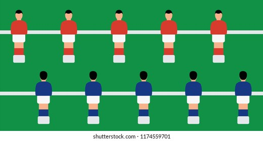 cover vector simple foosball national team toy & plastic sport group. closeup on Table football game isolated. players & figures flat design. play soccer or kicker cartoon. funny character tournament