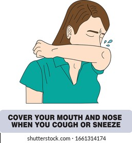 Cover your mouth and nose with arm when cough or sneeze. woman vector warning sign about cough and sneeze. Coronavirus protection sign. woman with runny nose and sneezing. Protection Against Viruses