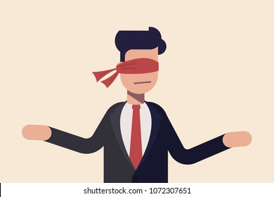 Covered eye. Blindfolded with red cloth. Concept indecisive businessman or manager standing blind before a choice.