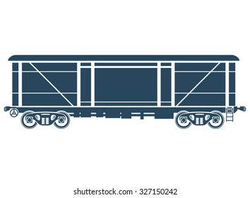 Covered Railway freight car - railcar - Vector illustration