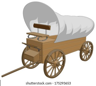 Covered Wagon -  Vector Artwork (isolated on white background).