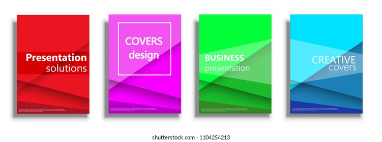 Covers design templates. Colored vector covers illustration set isolated over white background. Geometric patterns backgrounds for business presentations collection. 3D covers