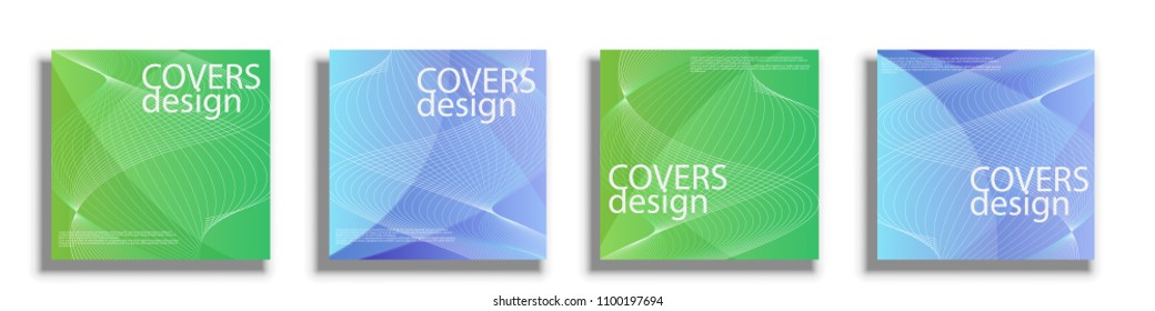 Covers design templates. Square cover. Vector illustrations covers isolated over white background. Geometric patterns backgrounds
