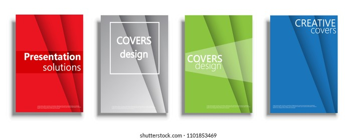 Covers design templates. Vector covers illustration set isolated over white background. Geometric patterns backgrounds for business presentations collection. Wavy presentation covers