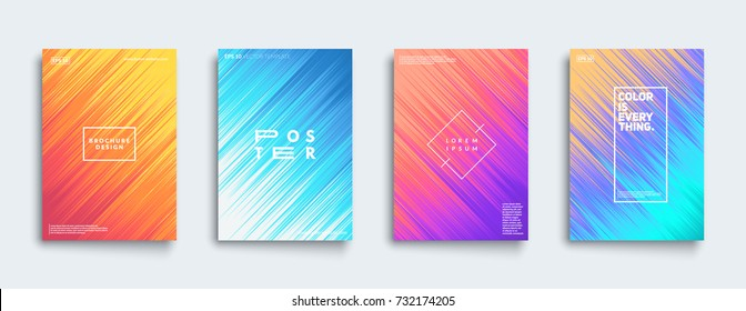 Covers with dynamic patterns. Cool colorful gradients. Applicable for Banners, Placards, Posters, Flyers. Eps10 vector.