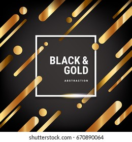 Covers with flat abstract pattern. Black and gold colors, dark background. Template of banners, placards, posters, flyers. Vector illustration, flat