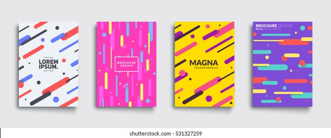 Covers with flat geometric pattern. Cool colorful backgrounds. Applicable for Banners, Placards, Posters, Flyers. Eps10 vector template.