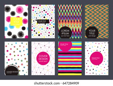 Covers with flat geometric pattern. Cool colorful backgrounds. Applicable for banner, poster, card, cover, invitation, placard. Vector template. Isolated.
