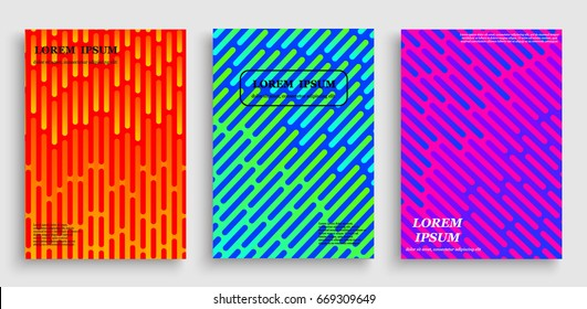 Covers with flat geometric pattern. Cool colorful backgrounds. Applicable for Banners, Placards, Posters, Flyers
