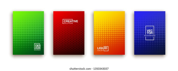 Covers with geometric pattern. Shapes with gradients composition.