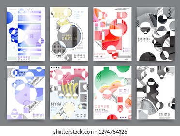 Covers with minimal design. Abstract backgrounds. Vector frame for text