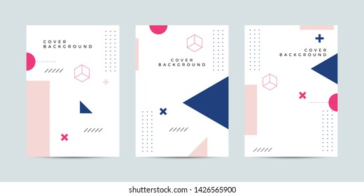 Covers with minimal design. Cool geometric memphis style backgrounds for your design. Applicable for Banners, Posters, Flyers etc. Eps10 vector