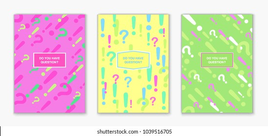 Covers with question marks and exclamation marks pattern. Cool colorful backgrounds. Applicable for Banners, Placards, Posters, Flyers. Eps10 vector template.
